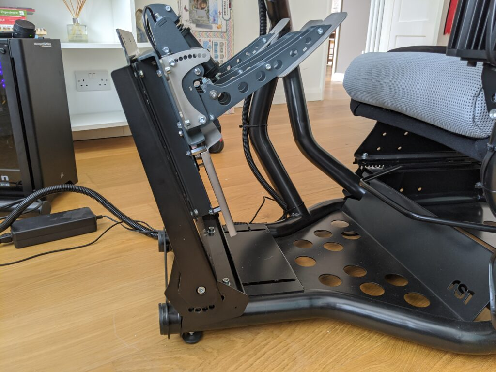 rseat rs1 pedal base mount tipped at an angle for access