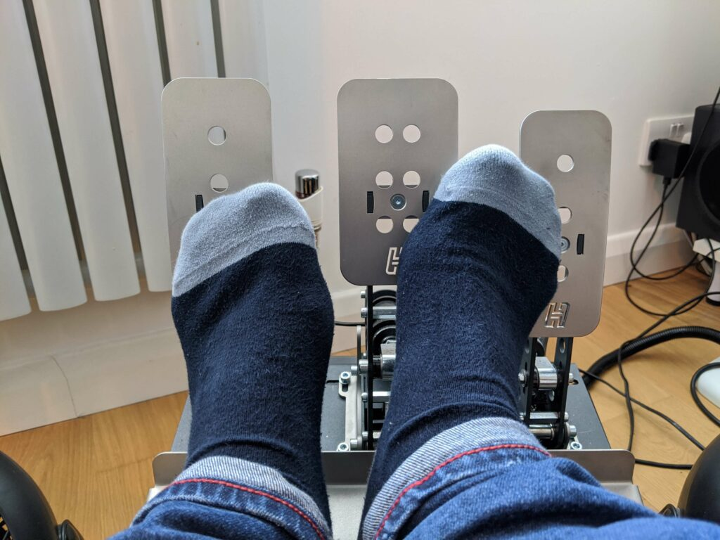 socks in the sim on heusinkveld pedals