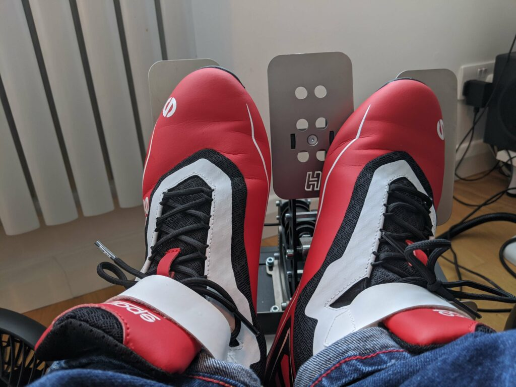 Using kart boots on sim pedals