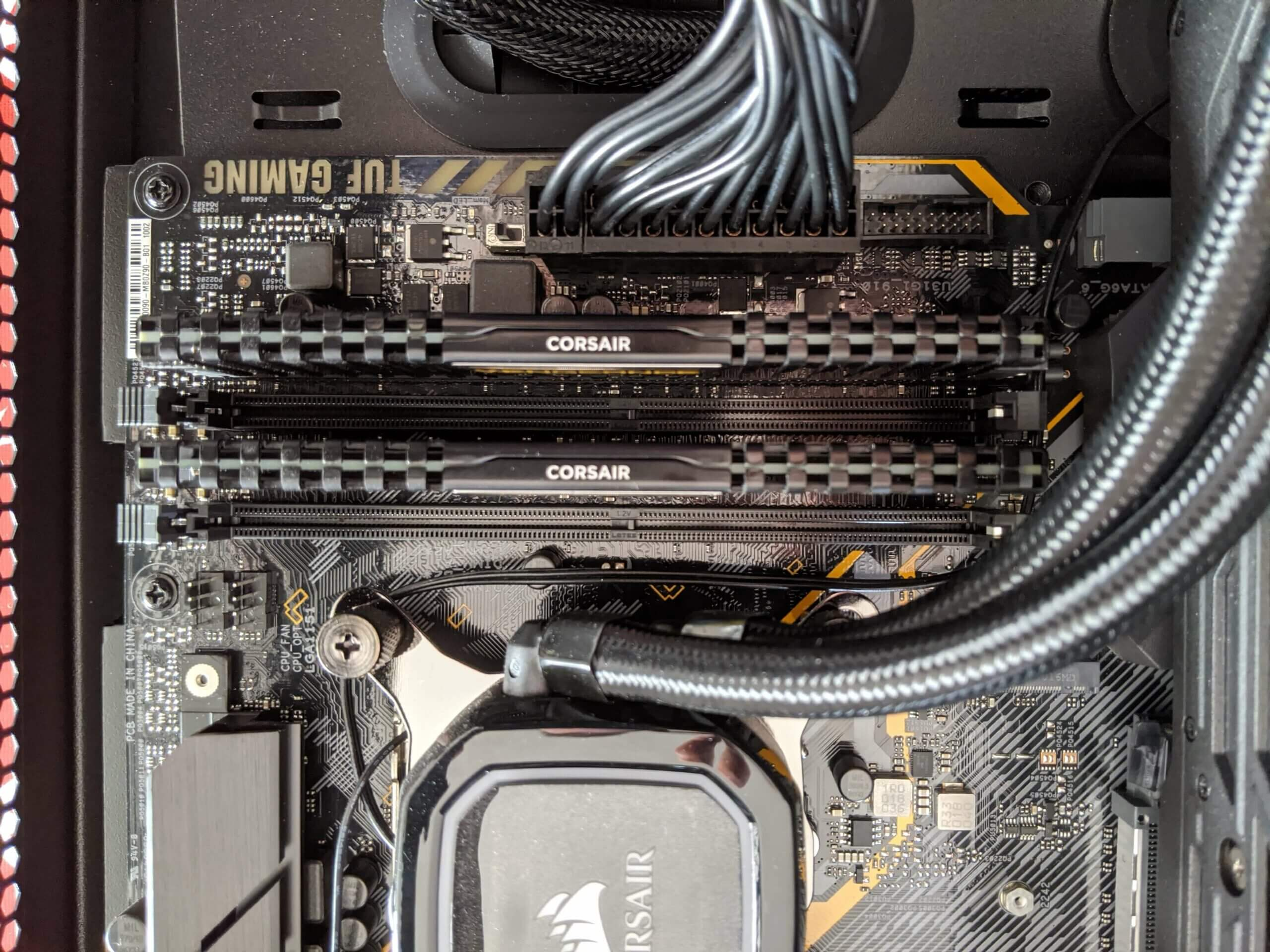 corsair ram on motherboard