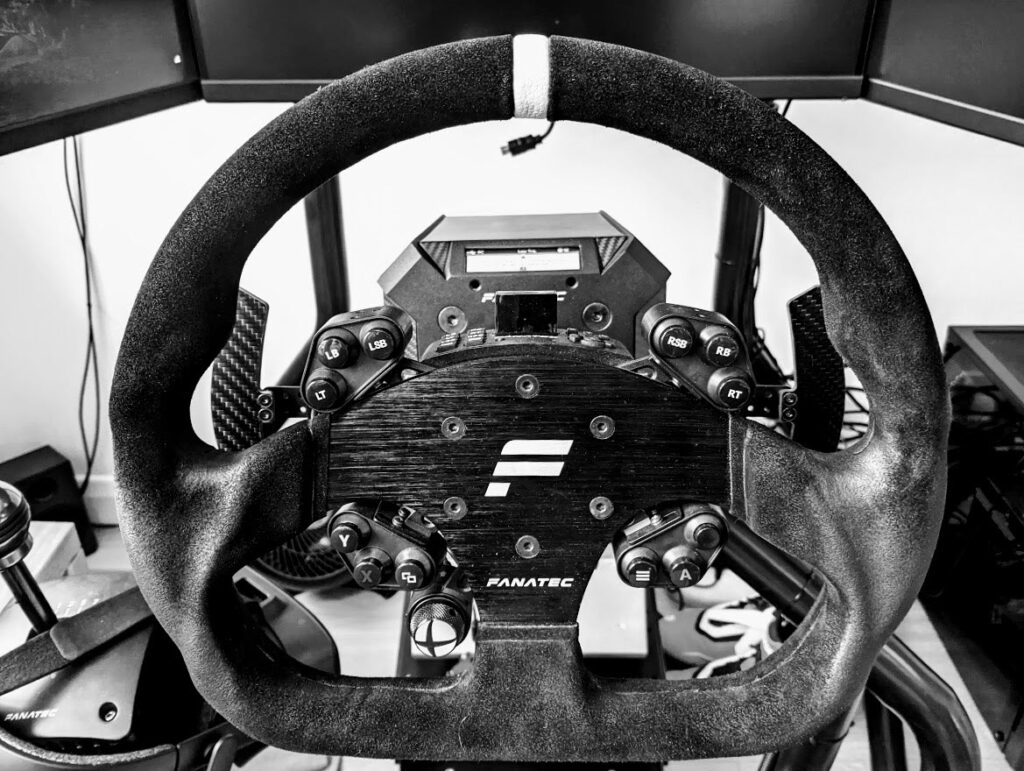 My trusty Fanatec GT Alcantara sim steering wheel