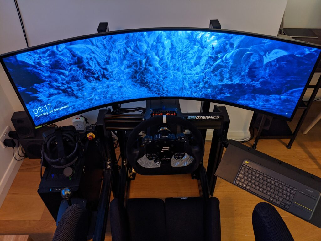 """My setup with a Samsung G9 49"""" ultra wide (running at 240hz)"""
