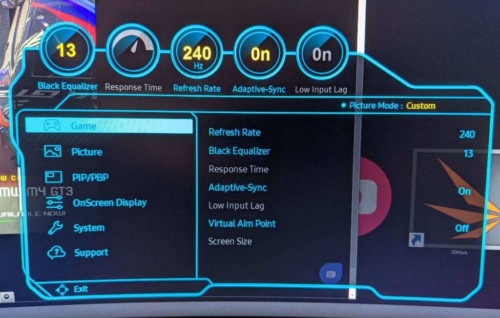 The G9 settings menu which allows you to set the high 240hz refresh rate