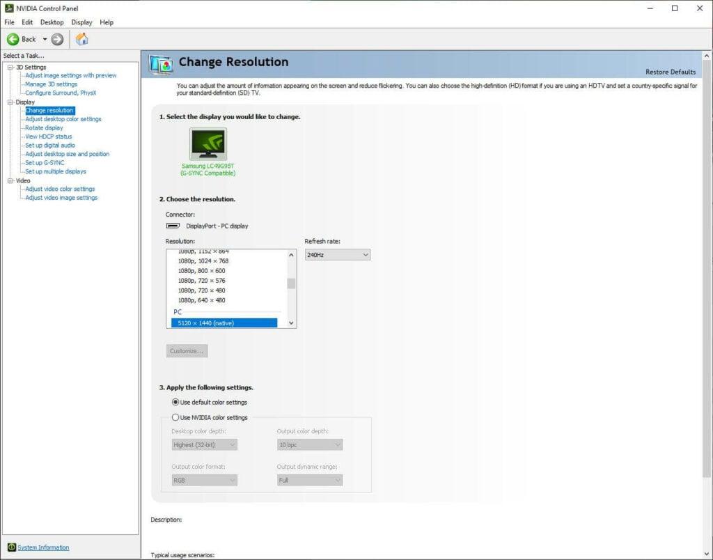 NVIDIA Control panel resolution settings