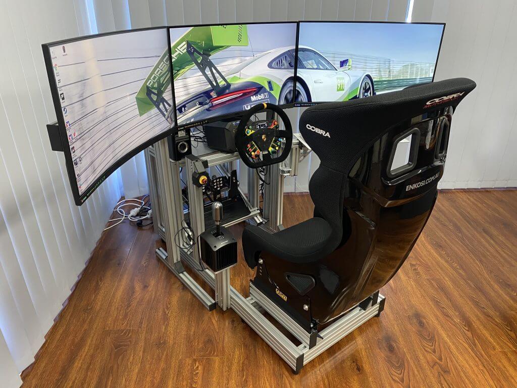 sim racing rig with cobra seat
