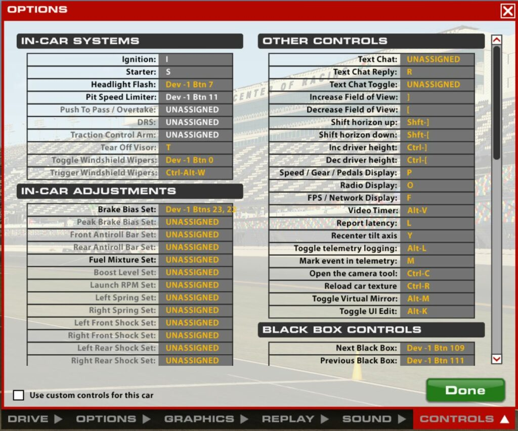 iRacing button mapping options screen