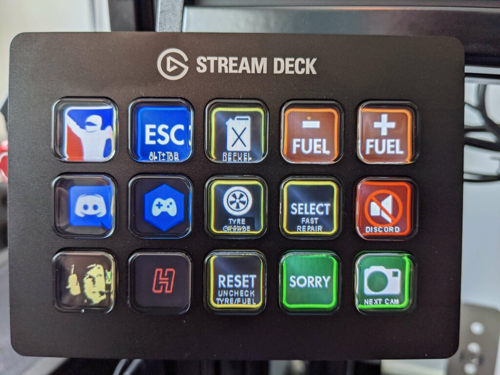My Stream Deck layout for Endurance racing in iRacing