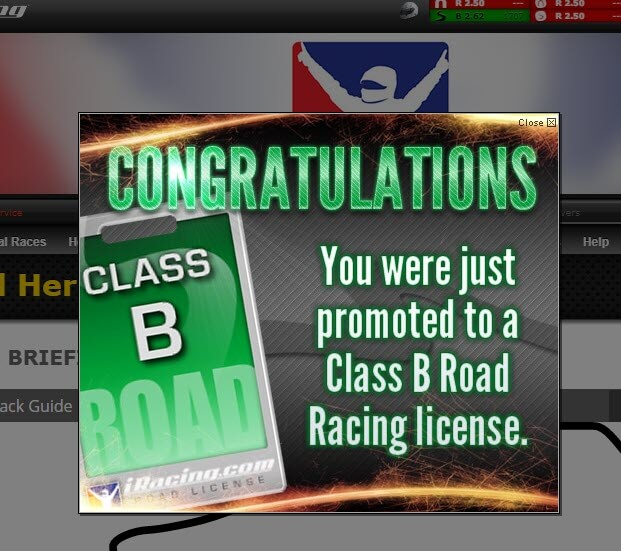 I currently hold a Class B licence in iRacing with a 1700+ iRating
