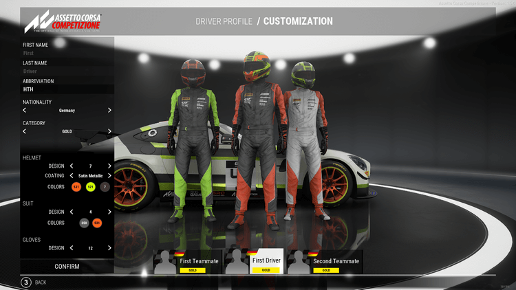 Customise your driver's helmet and racing suit