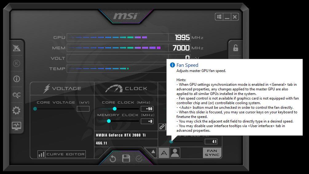 Adjust master GPU fan speed if your card runs too hot