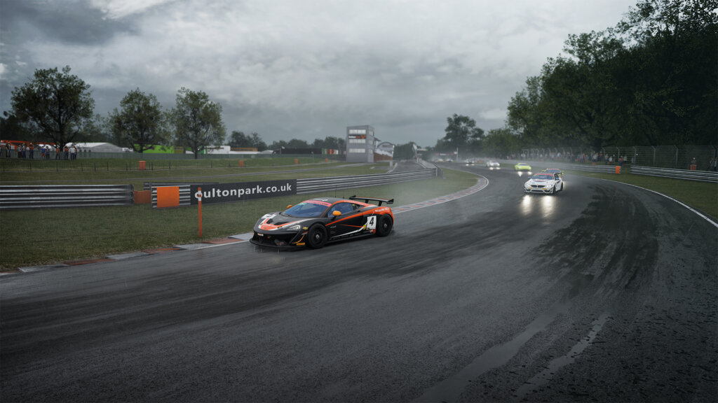 Simulated or real? This is Oulton Park in the wet in Assetto Corsa Competitzione