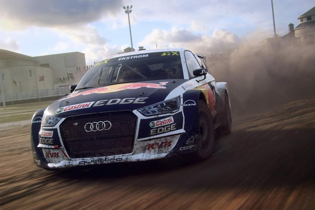 A Red Bull Audi in DiRT Rally 2.0