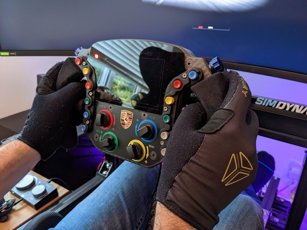 My Augury sim racing gloves after about a year