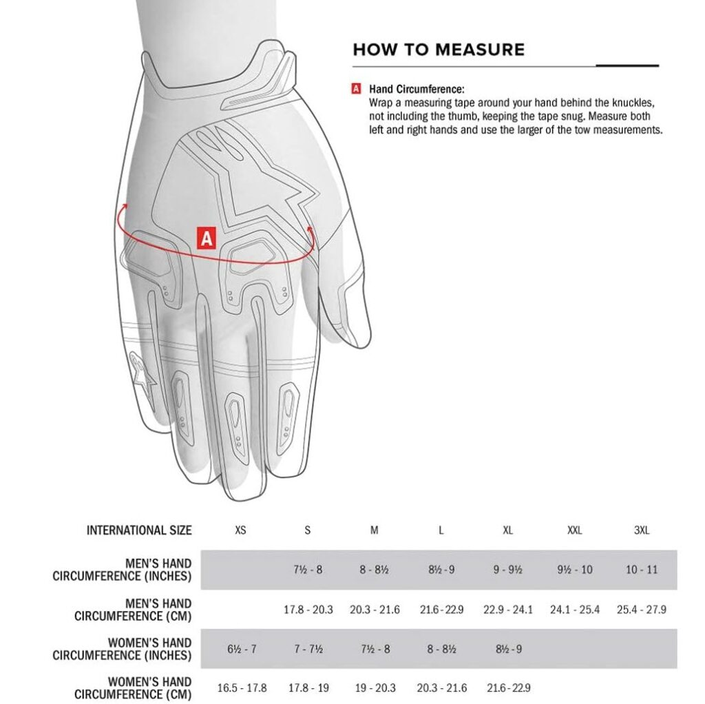 Glove size guide from Alpinestars