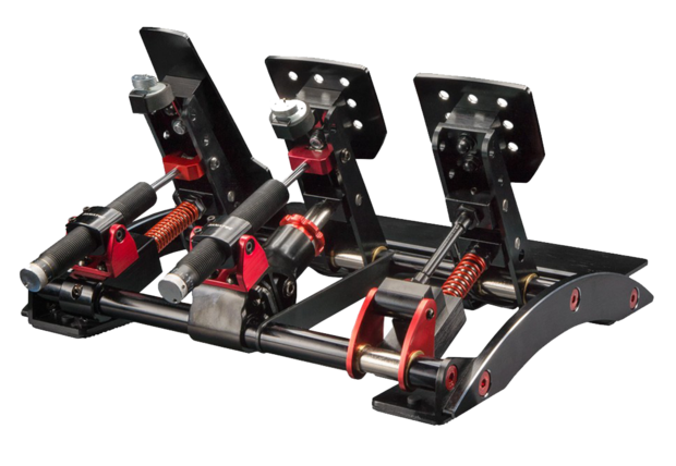 Fanatec's Clubsport V3 pedals with their Hydraulic Damper kit fitted on the brake and throttle