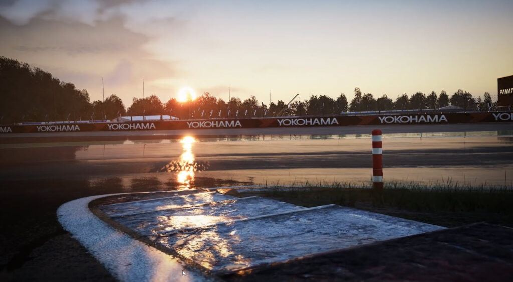 a simulated race track in Assetto Corsa